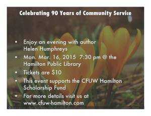 CFUW Hamilton Author Night 2015